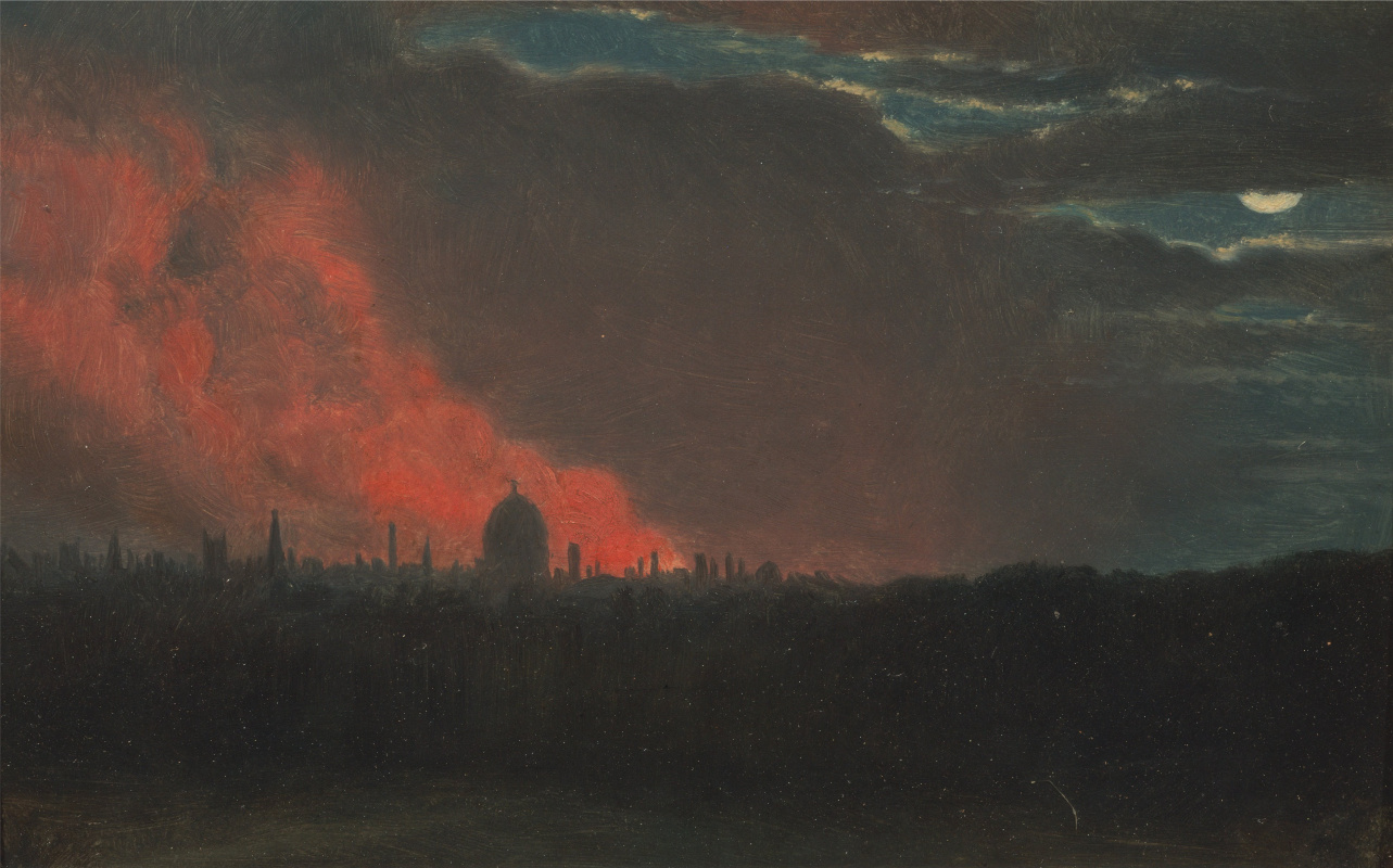 John Constable. Fire of London, the view from Hampsten