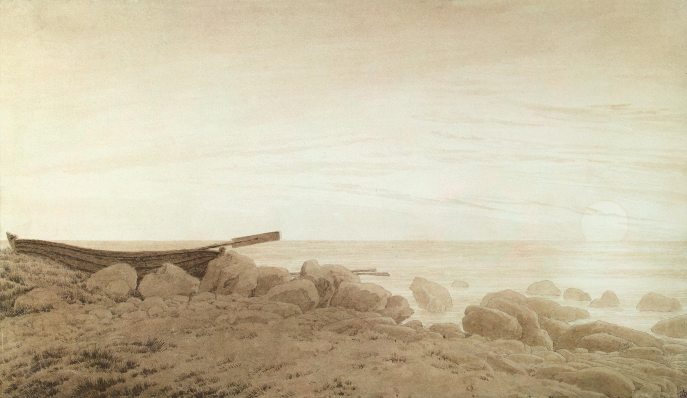 Caspar David Friedrich. Boat on the beach at the rising of the moon