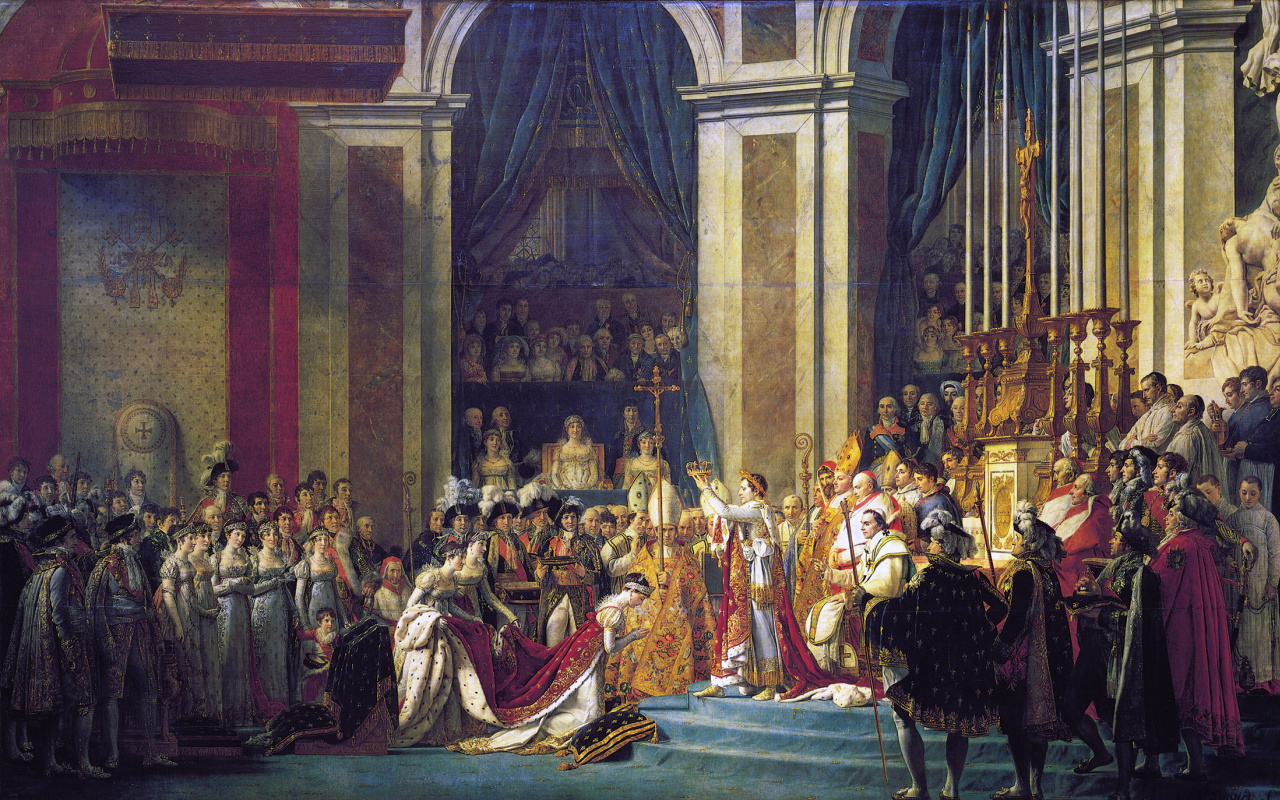 Jacques-Louis David. The coronation of the Emperor Napoleon I and coronation of Empress Josephine in Notre-Dame de Paris on 2 December 1804