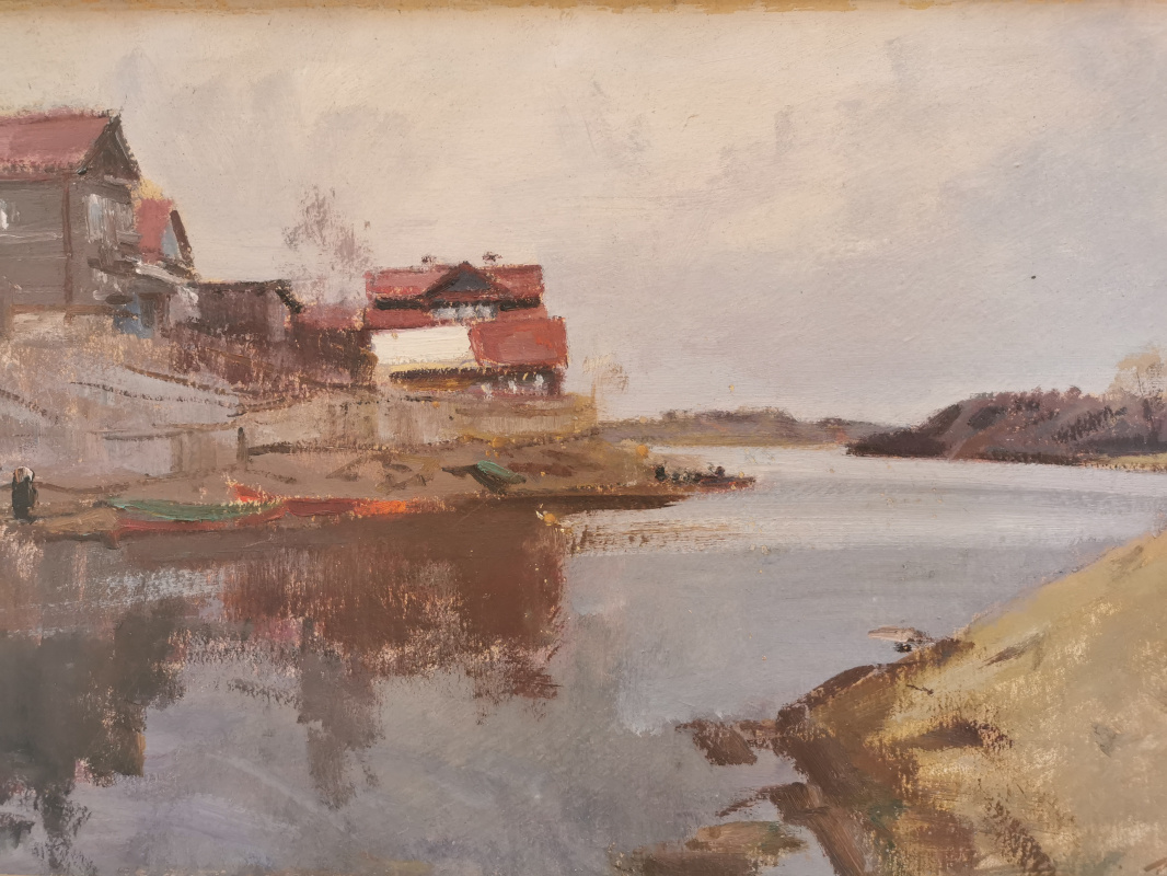 Konstantin Sergeevich Belokurov. Houses on the banks of the river. Volkhov
