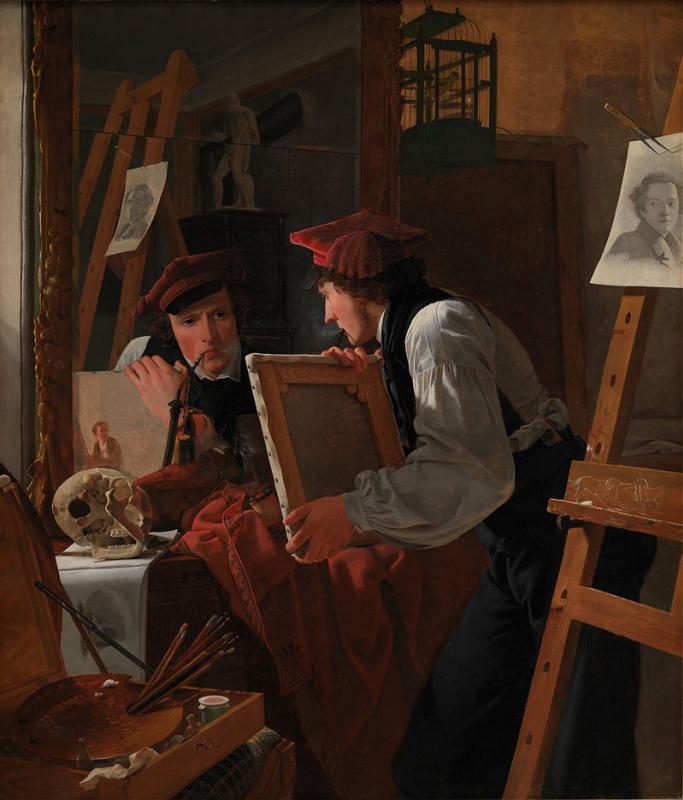 Молодой художник (Детлеф Блунк) смотрит на эскиз через зеркало