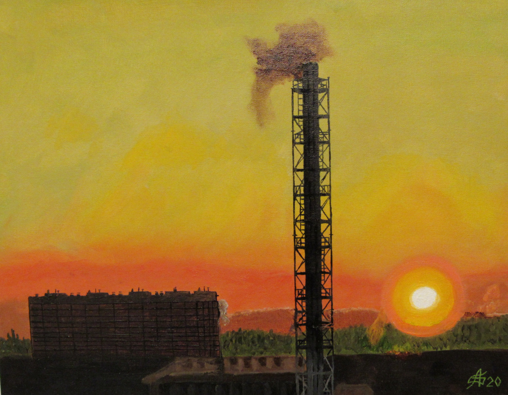 Artashes Badalyan. February sunset in the suburbs - x-hardboard-m - 35x45