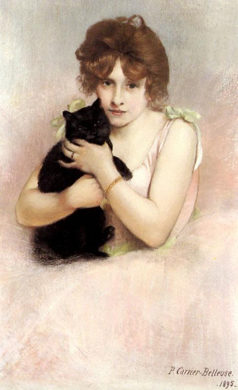 Пьер Карриер-Беллеус. Молодая девушка с черным котом