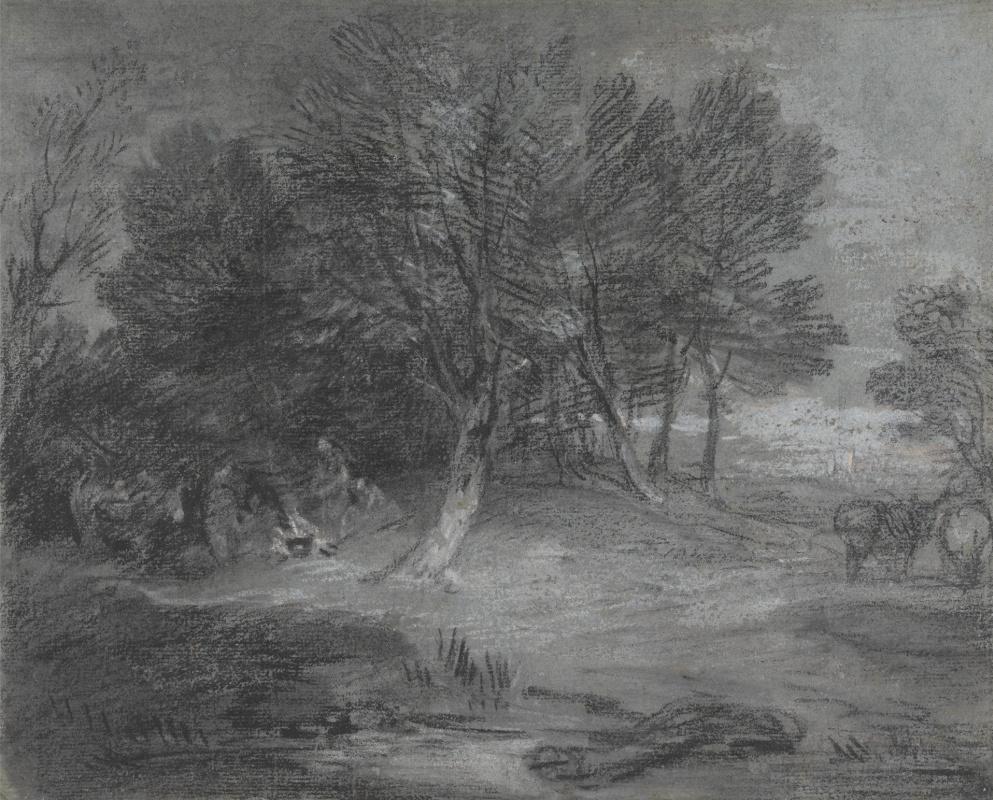 Томас Гейнсборо. Лесной пейзаж с цыганским лагерем