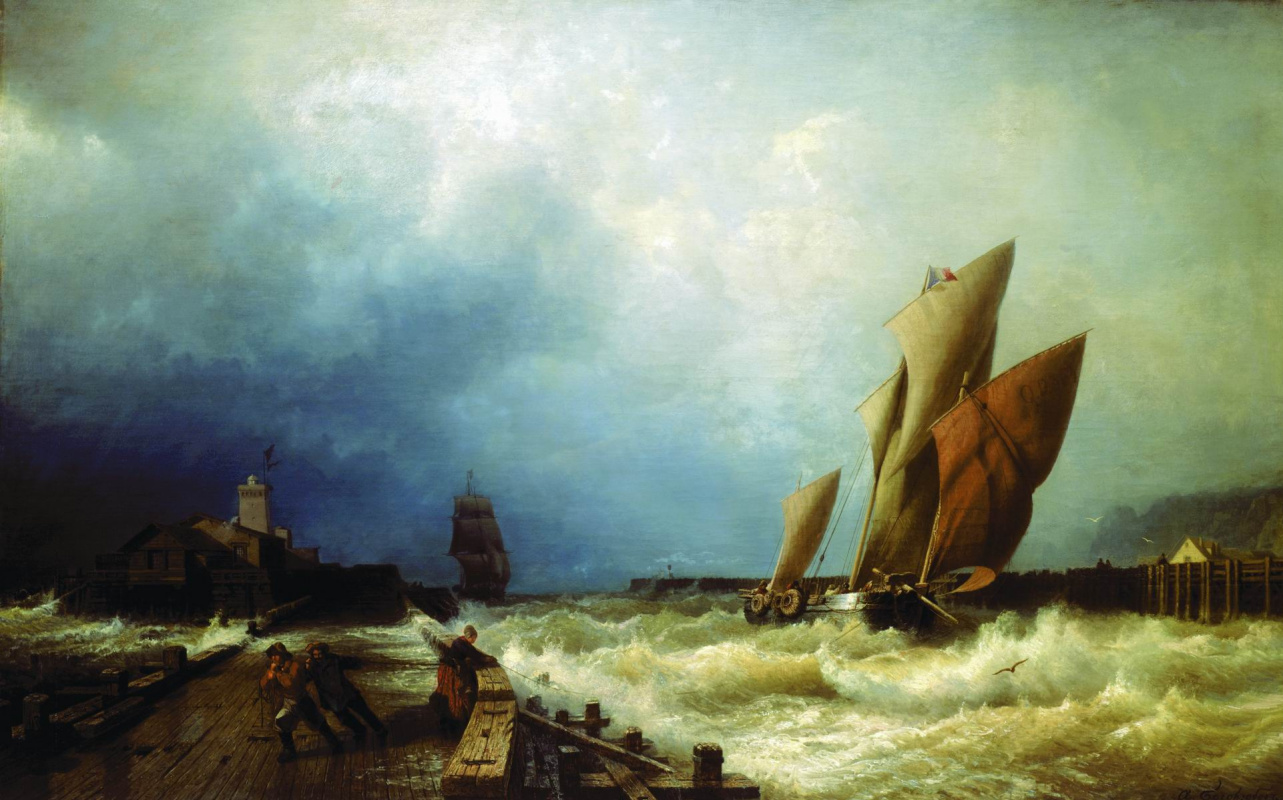 Alexey Petrovich Bogolyubov. Entrance of a fishing vessel to a storm in the harbor of Saint-Valery in Co. (France)