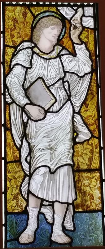 Уильям Моррис. Ангел с книгой. Витражное окно в галерее Уильяма Морриса в Лондоне. Фрагмент