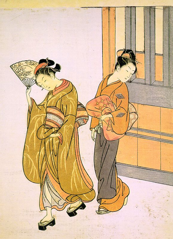 """Suzuki Harunobu. Going for a walk. The series """"Eight scenes in the living room"""""""
