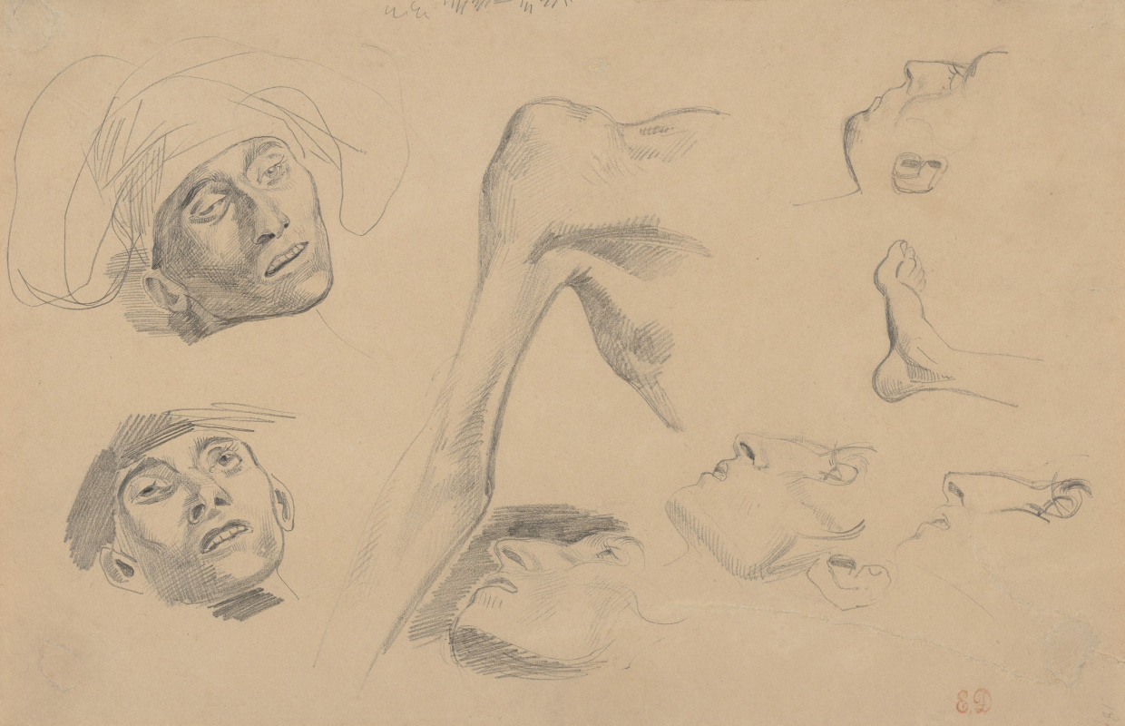 "Eugene Delacroix. Sketch of head, shoulder, feet (For ""Scenes of the massacre at Chios"")"