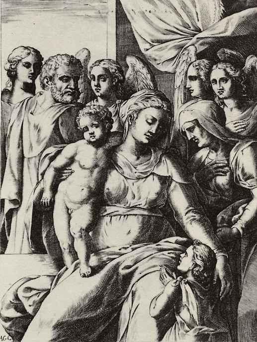 Агостино Карраччи. Святое семейство со святой Елизаветой, Иоанном Крестителем и четырьмя ангелами