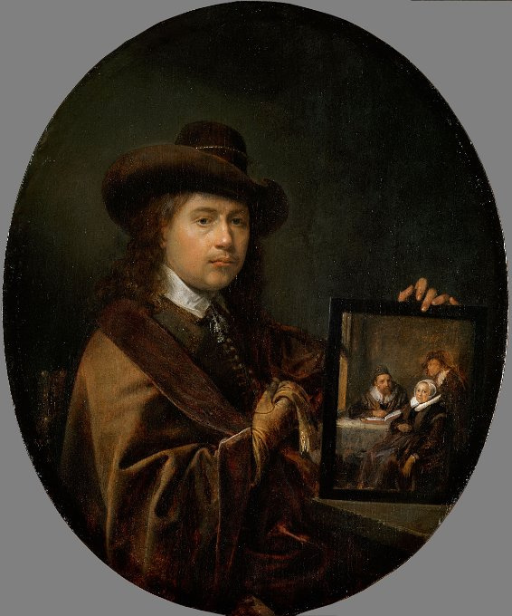 Gerrit (Gerard) Dow. Self-portrait with a portrait of my parents and my brother