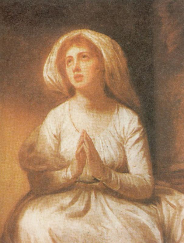 George Romney. Lady Hamilton praying