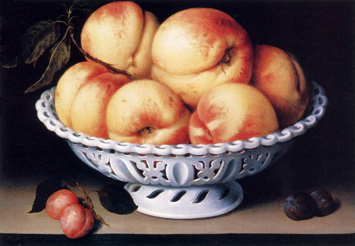 Fede Galicia. Still life with peaches and plums
