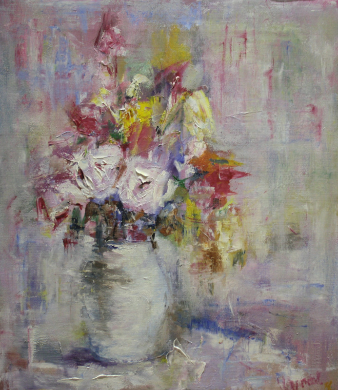 Vsevolod Chistyakov. Still Life Spring Bouquet Oil Paintings To Buy In St. Petersburg Bouquet Still Life