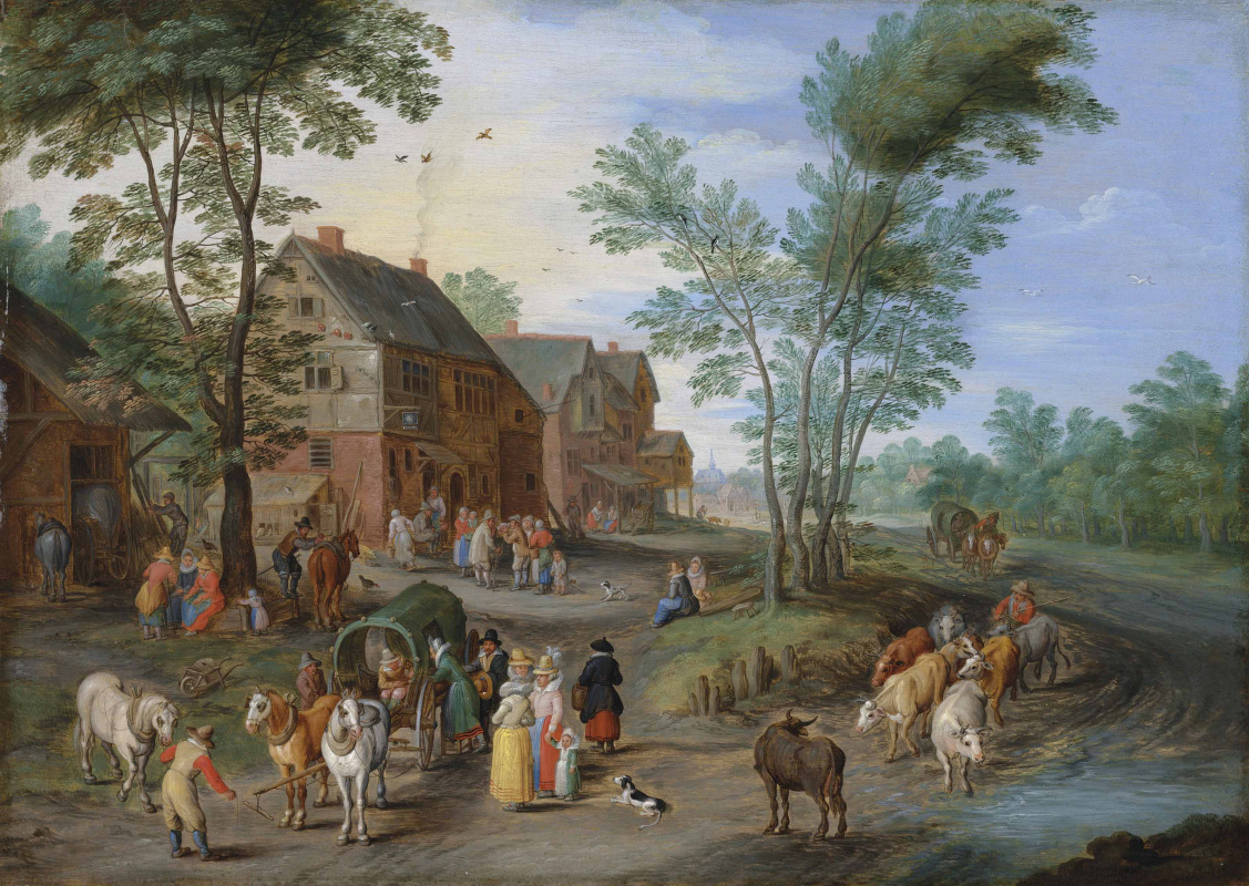 Jan Brueghel the Younger. Country landscape with peasants and shepherd