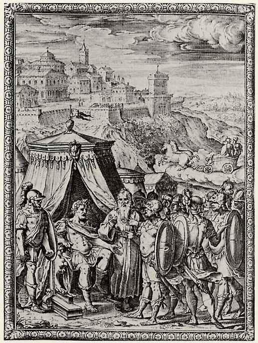 """Бернардо Кастелло. Иллюстрация к поэме Торквато Тассо """"Освобожденный Иерусалим"""", Рыцари рассказывают, как Ринальдо освободил их из плена волшебницы"""