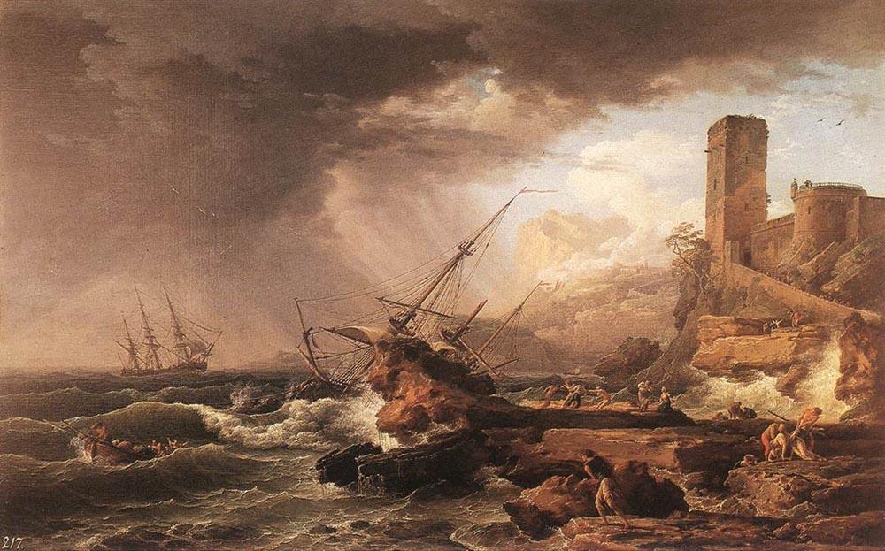 Claude Joseph Vernet. The crashed ship near the coast