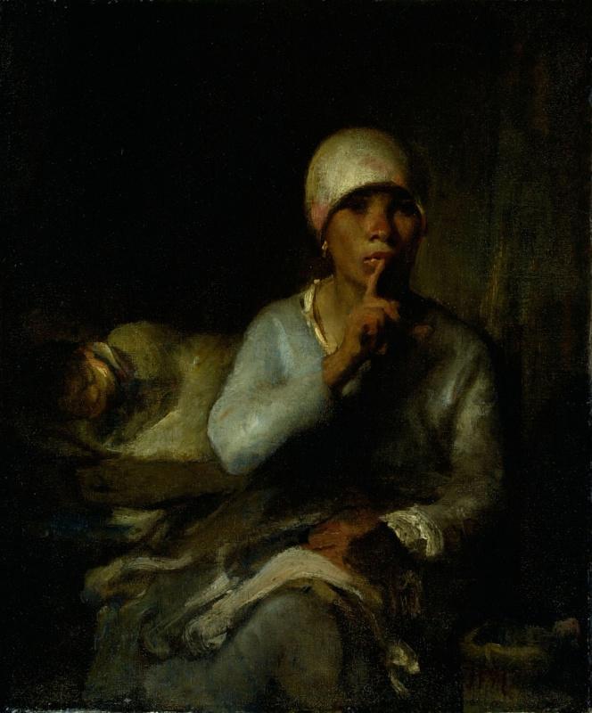 Jean-François Millet. Hush! (Portrait of a woman with a child)