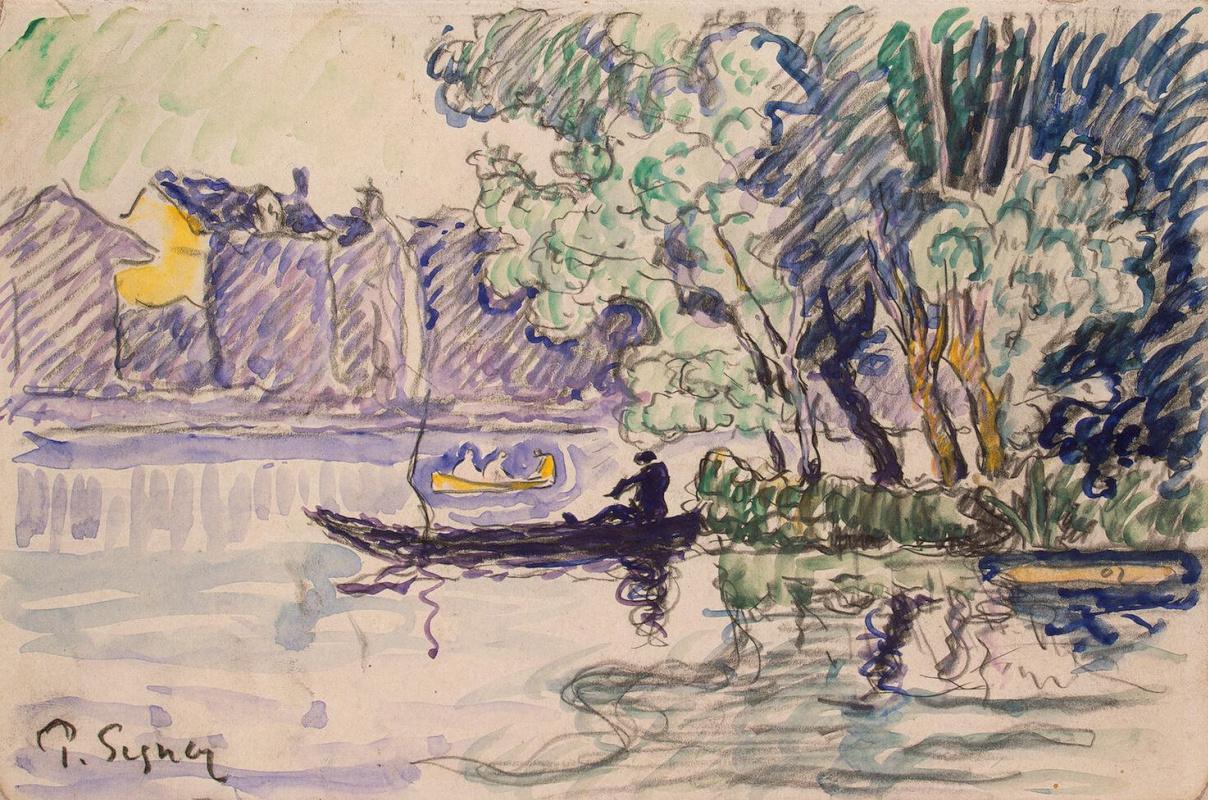 Поль Синьяк. Рыболов в лодке на берегу Сены