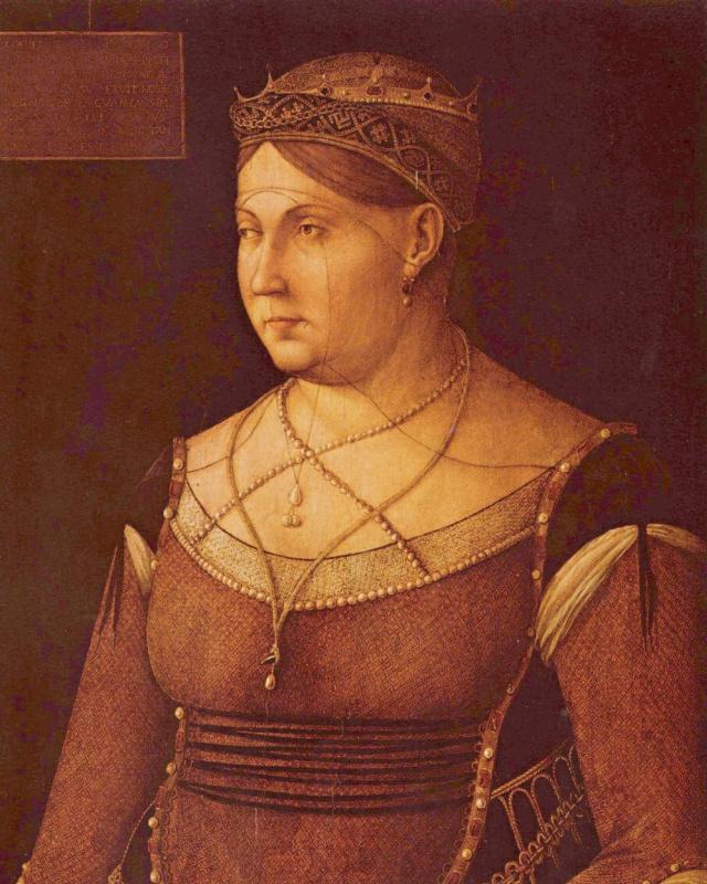 Gentile Bellini. A portrait of the Queen of Cyprus Catherine Cornaro