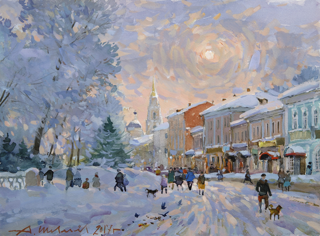 Alexander Shevelyov. Rybinsk. Morning on quay. A water color, a paper, whitewash 27,5 х 37 cm. 2017