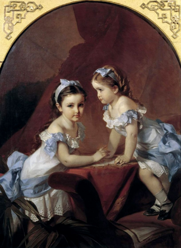 Ivan Kuzmich Makarov. Girls-sisters. The portrait of Liza and Natasha Arapova