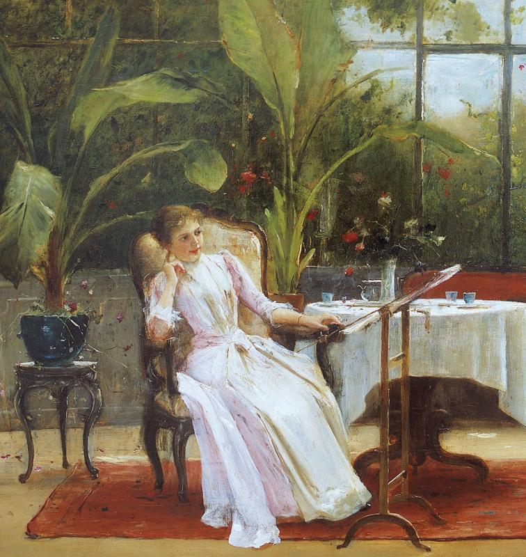 Михай Либ Мункачи. Интерьер с девочкой за фортепиано. Фрагмент. Девушка с вышивкой