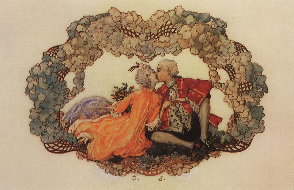 """Константин Андреевич Сомов. Поцелуй. Заставка для журнала """"Jugend"""", 1905, №33, с.627"""
