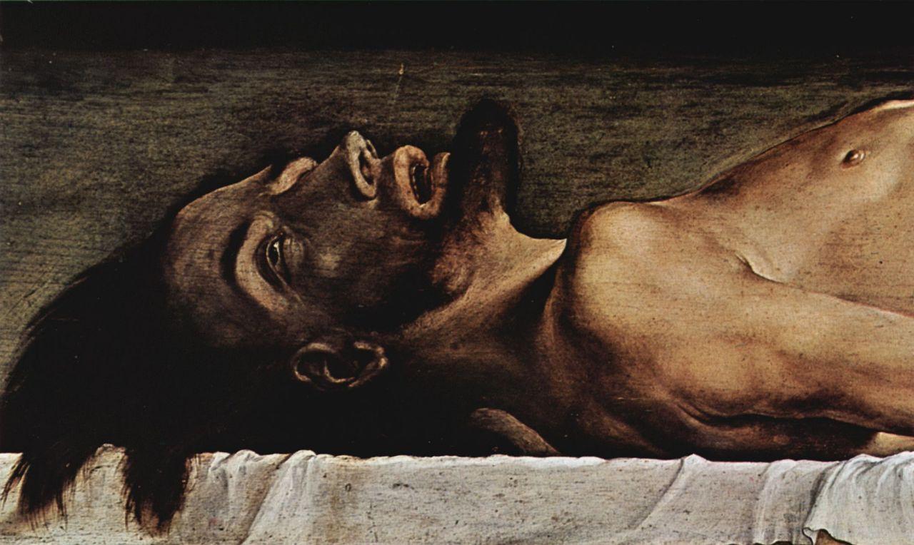 Ганс Гольбейн Младший. Алтарь Ганса Оберрида в кафедральном соборе Фрайбурга, пределла: Мертвый Христос, деталь: Лицо Христа
