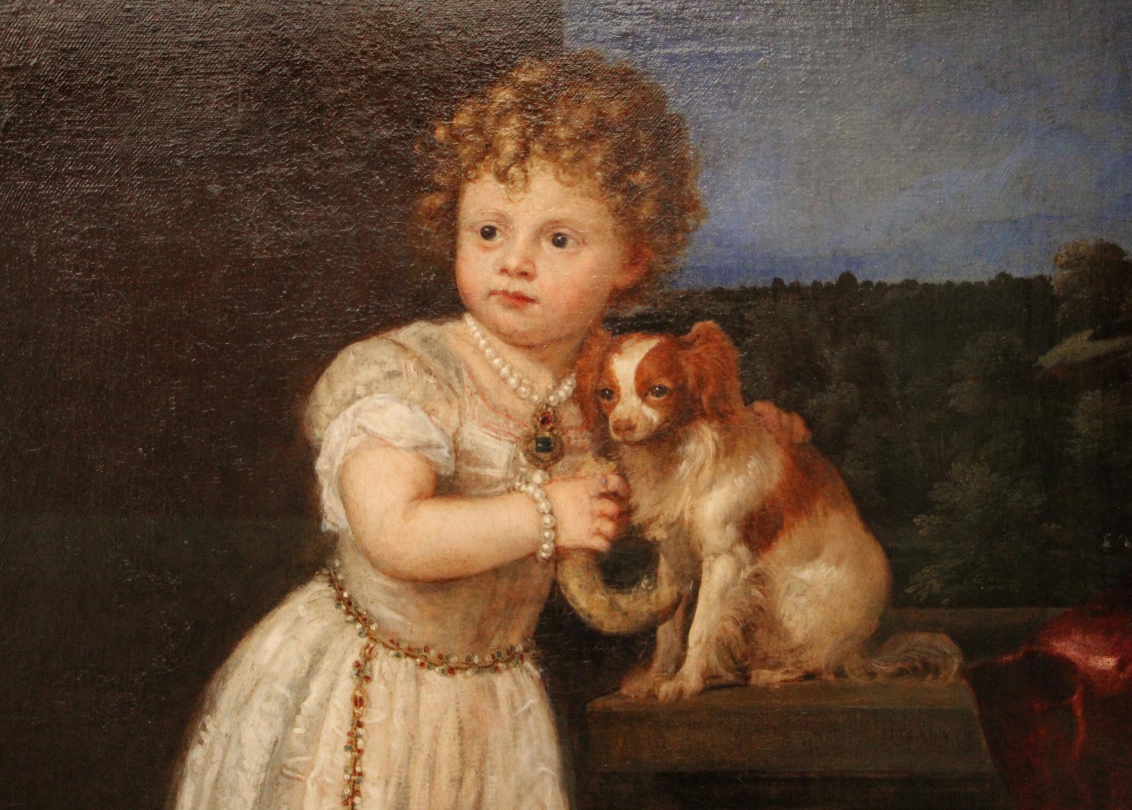 Titian Vecelli. Portrait of Clarissa Strozzi, daughter of Roberto Strozzi. Fragment