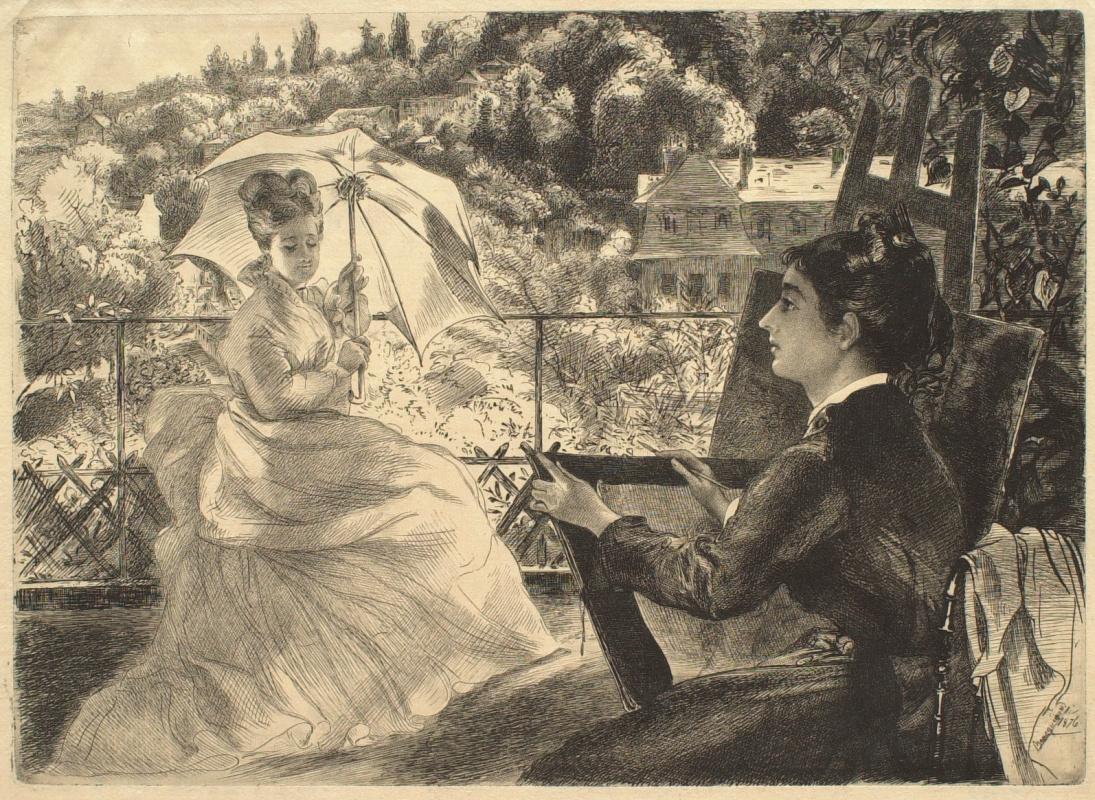 Felix Brakemon. Terrace at Villa Brancas. Artist Marie Braquemont and her sister