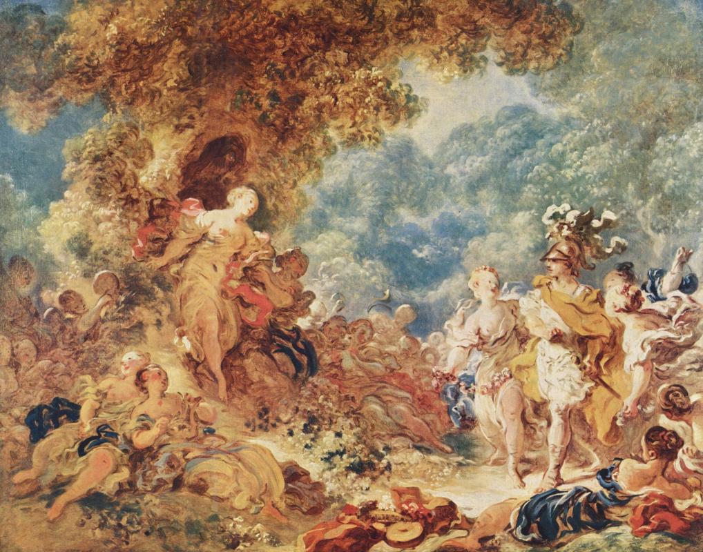 Jean-Honore Fragonard. Rinaldo in garden of Armida