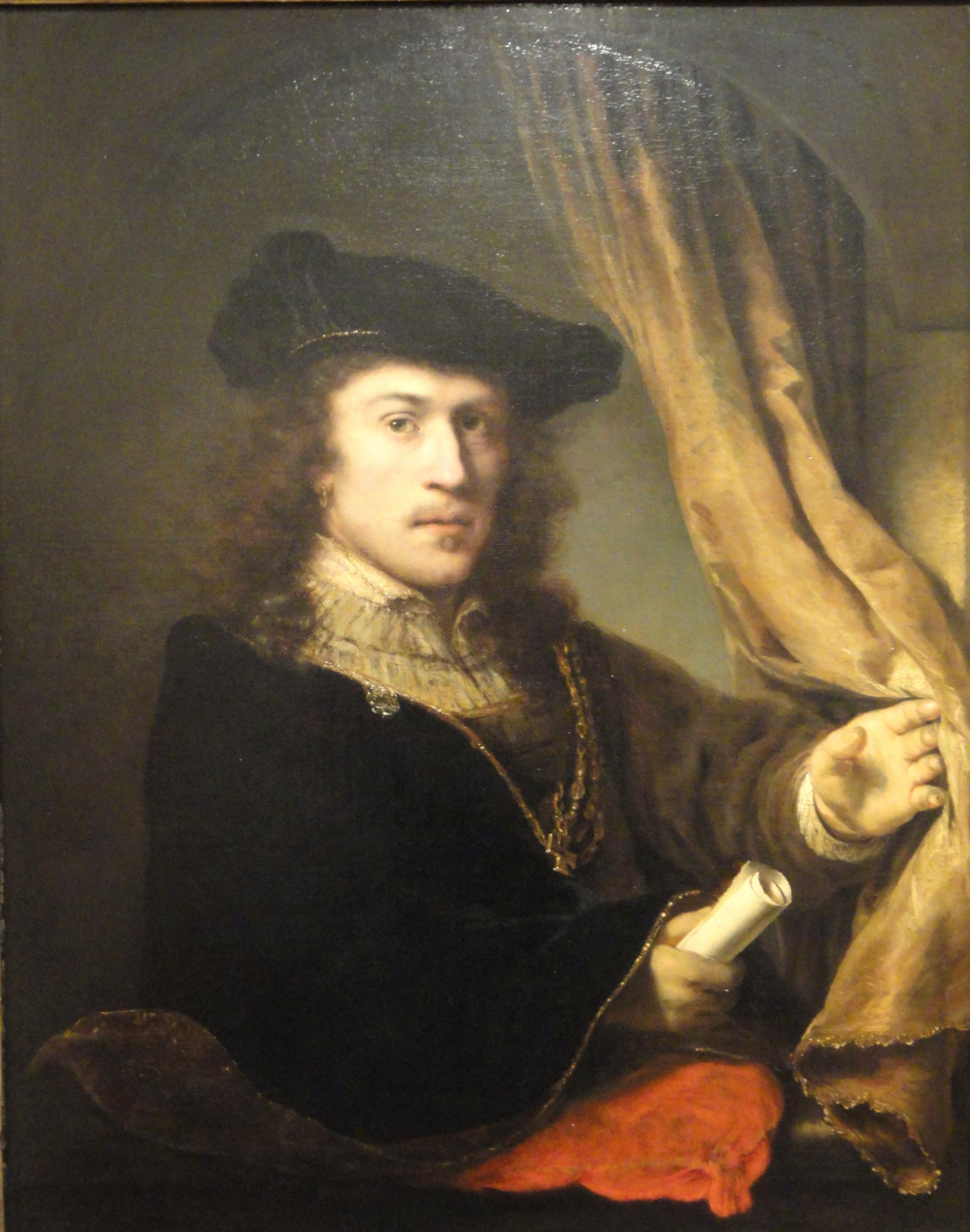 Фердинанд Балтасарс Боль. Автопортрет со свитком