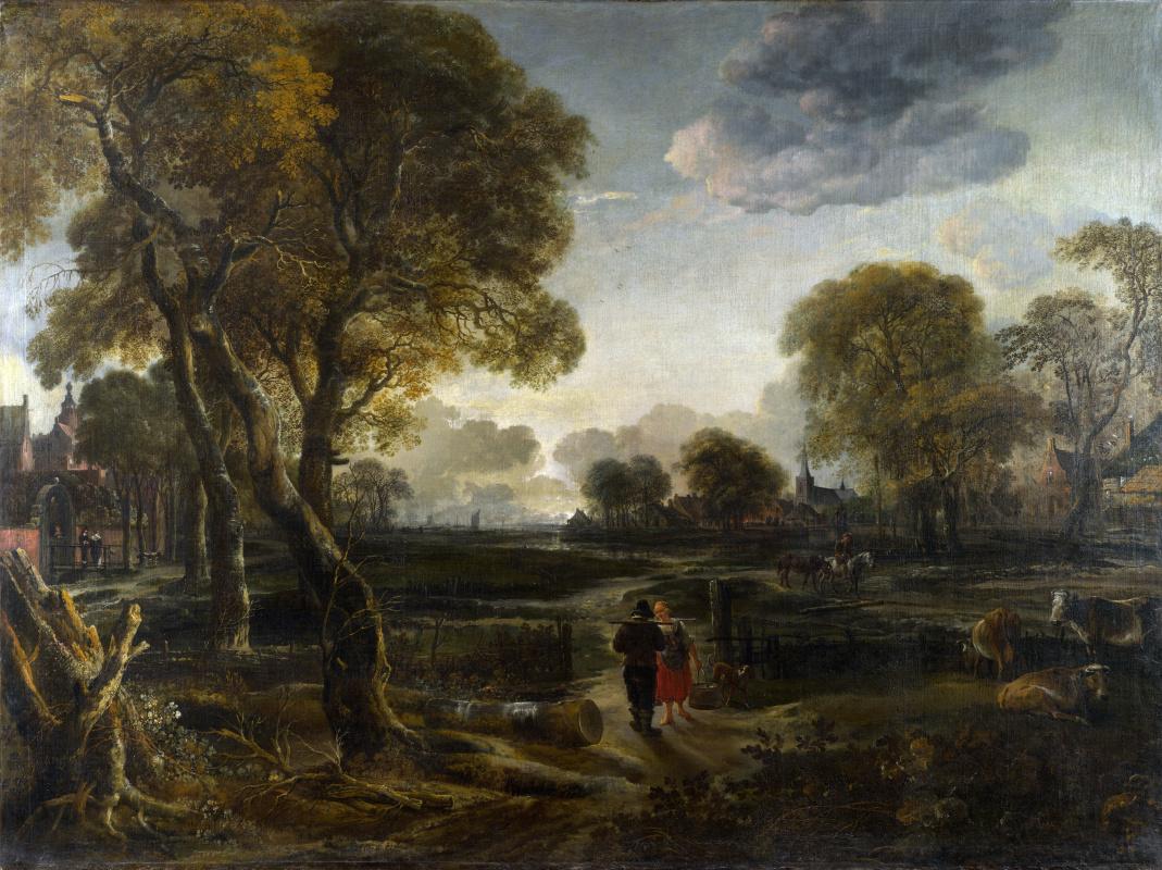 Art van der Ner. Evening view near a village