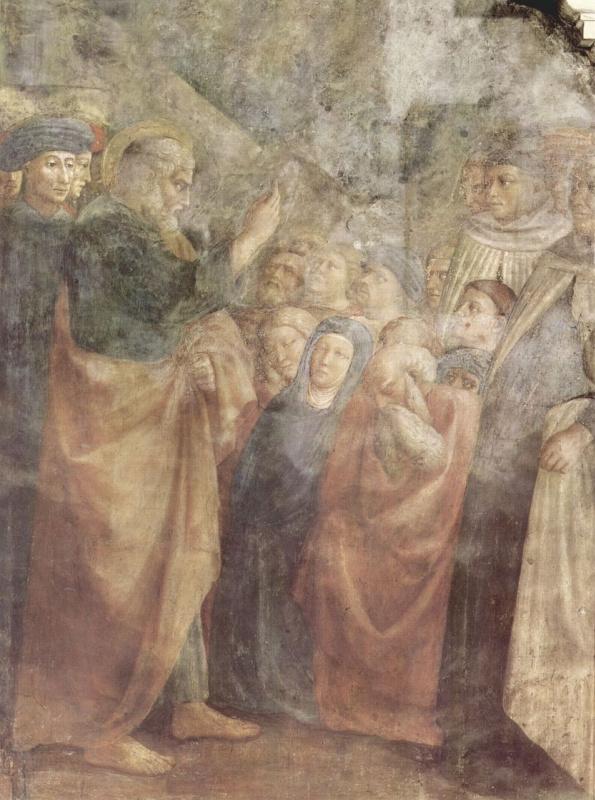 Цикл фресок капеллы Бранкаччи в церкви Санта Мария дель Кармине во Флоренции, сцены из Жизни Петра, сцена: Проповедь св. Петра