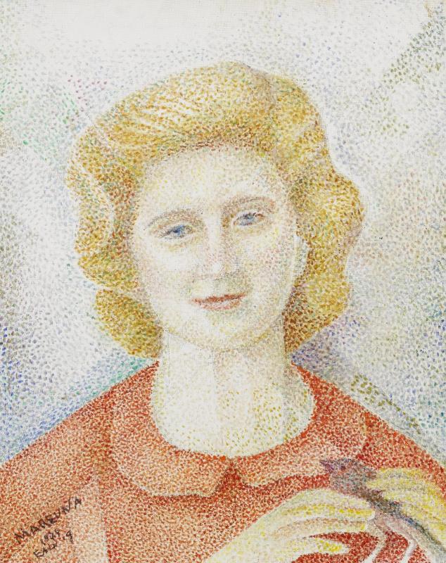 Мария Брониславовна (Воробьева-Стебельская) Маревна. Мария держит птицу. 1974