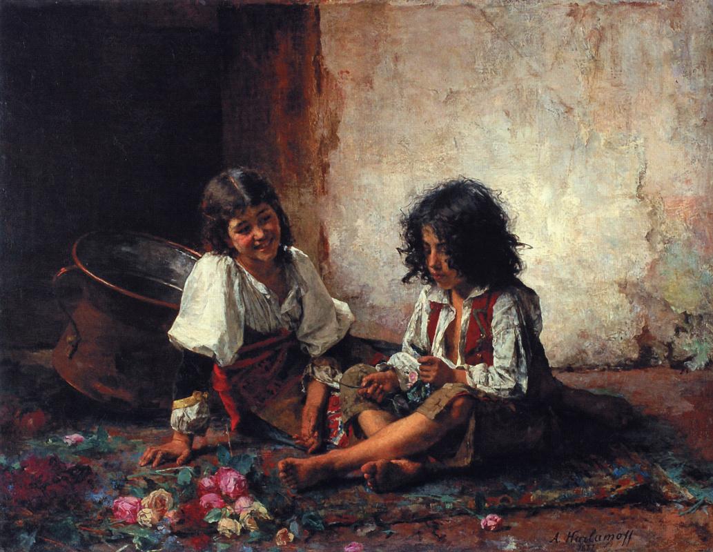Алексей Алексеевич Харламов. Итальянские дети. 1877