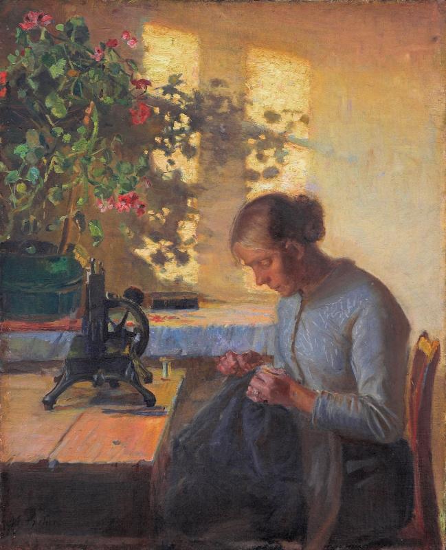 Анна Анкер. Жена рыбака за шитьём