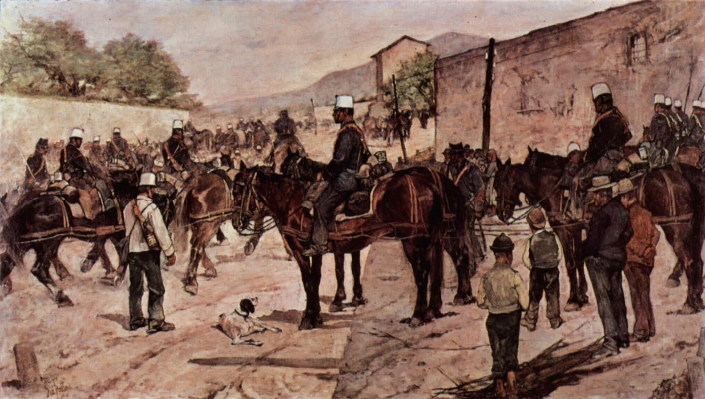 Джованни Фаттори. Артиллерийский корпус на просёлочной дороге