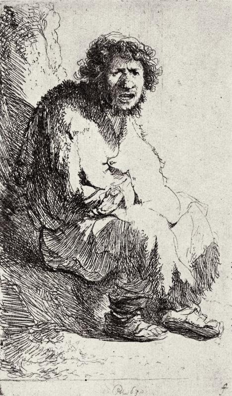 Рембрандт Харменс ван Рейн. Нищий на пригорке