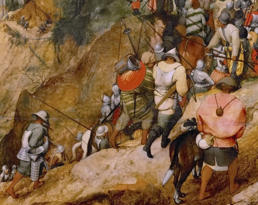 Pieter Bruegel The Elder. The conversion of Saul (Conversion of St. Paul). Fragment 1. Soldiers and accompanying