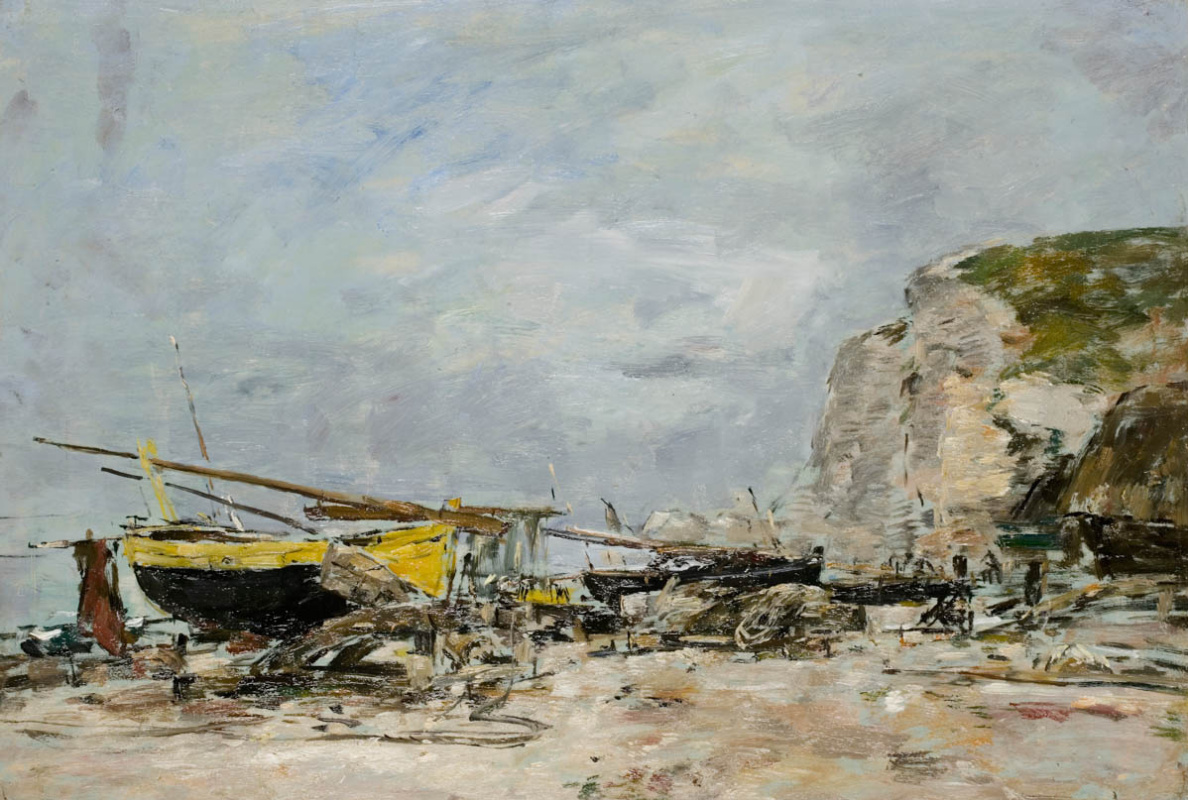 Eugene Boudin. Cliffs and yellow boats in Étretat