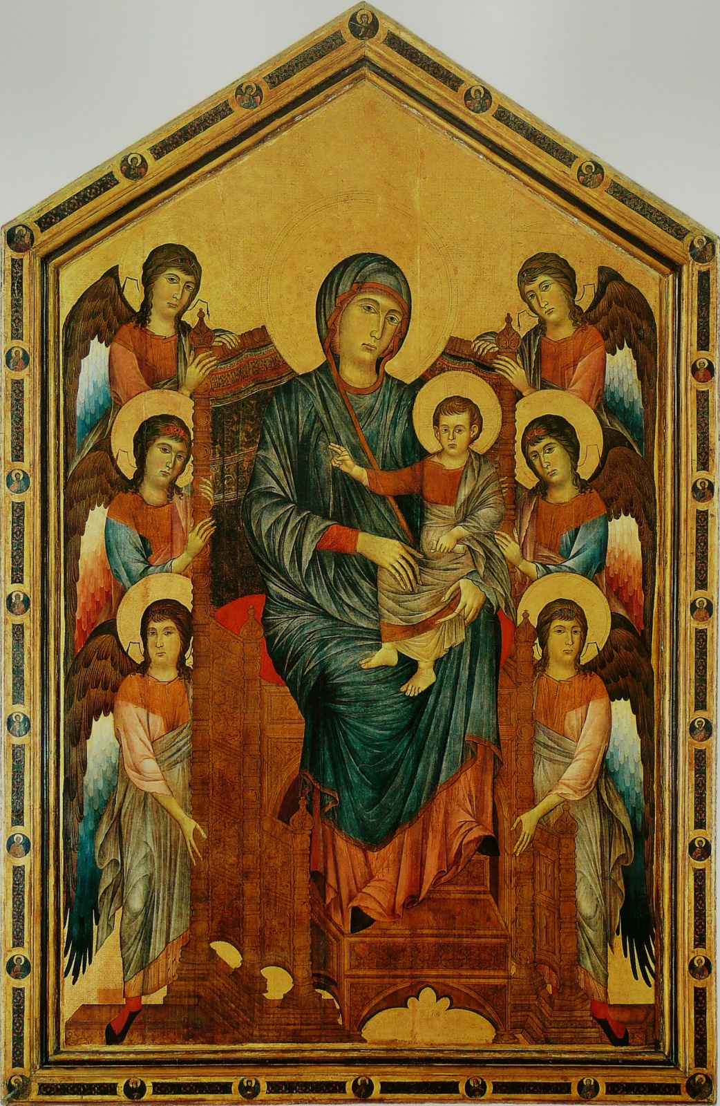 Madonna on the throne with the angels (Maesta) Chimabue (Chenny Di Pepo) 1290s, 276×424 cm