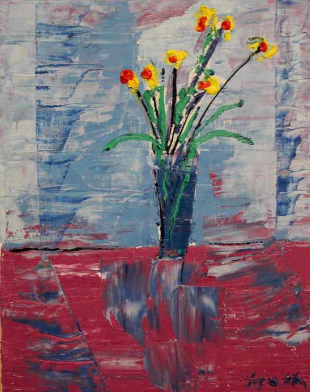 Олег Троян. Цветы в голубой вазе
