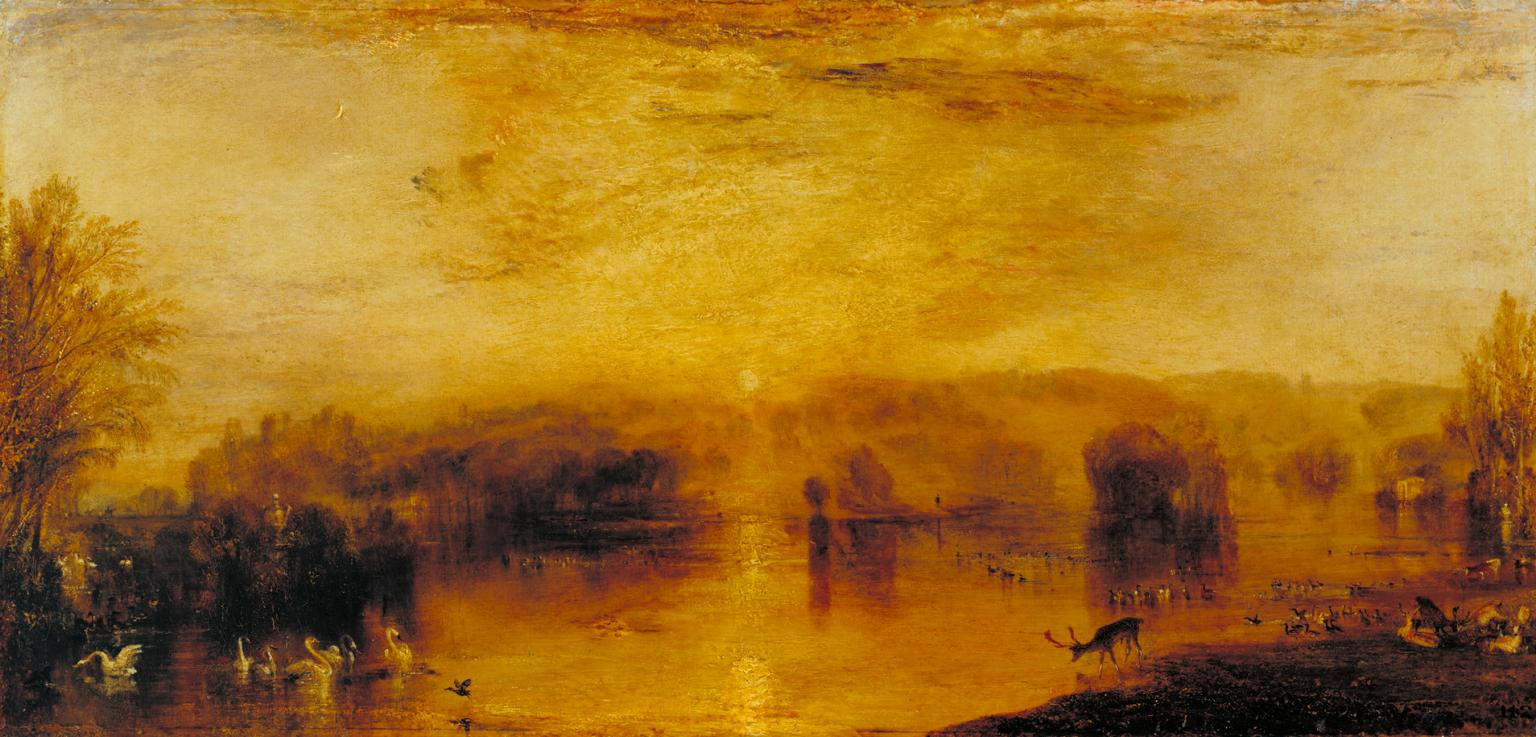 Joseph Mallord William Turner. The lake, Petworth: sunset, a drinking deer