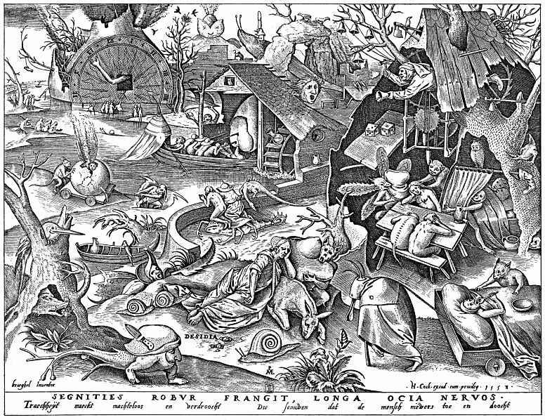"""Pieter Bruegel The Elder. The series """"Seven deadly sins"""". Laziness"""