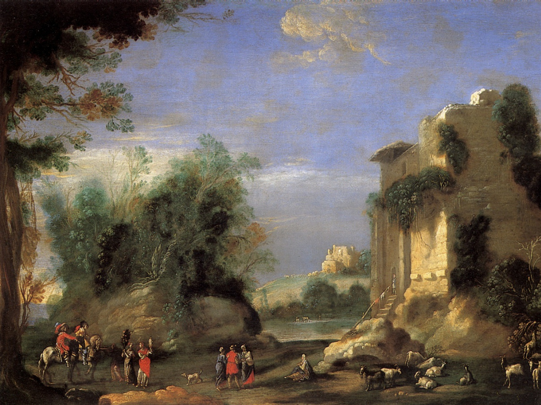 D'anjil Filippo. Landscape with ruins and figures