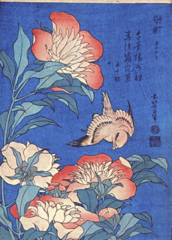 Katsushika Hokusai. Peonies and Canary