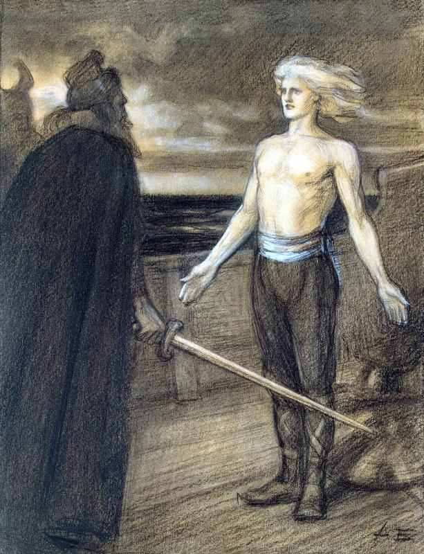 """Albert Gustav Aristide Edelfelt. Illustration to the poem of Runeberg's """"the King of Fjalar"""""""