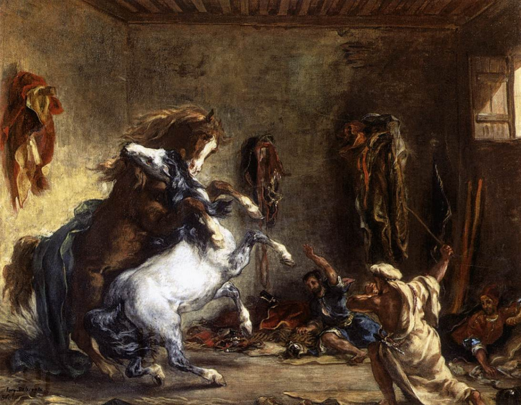 Eugene Delacroix. The struggle of the Arab horses in the stable.