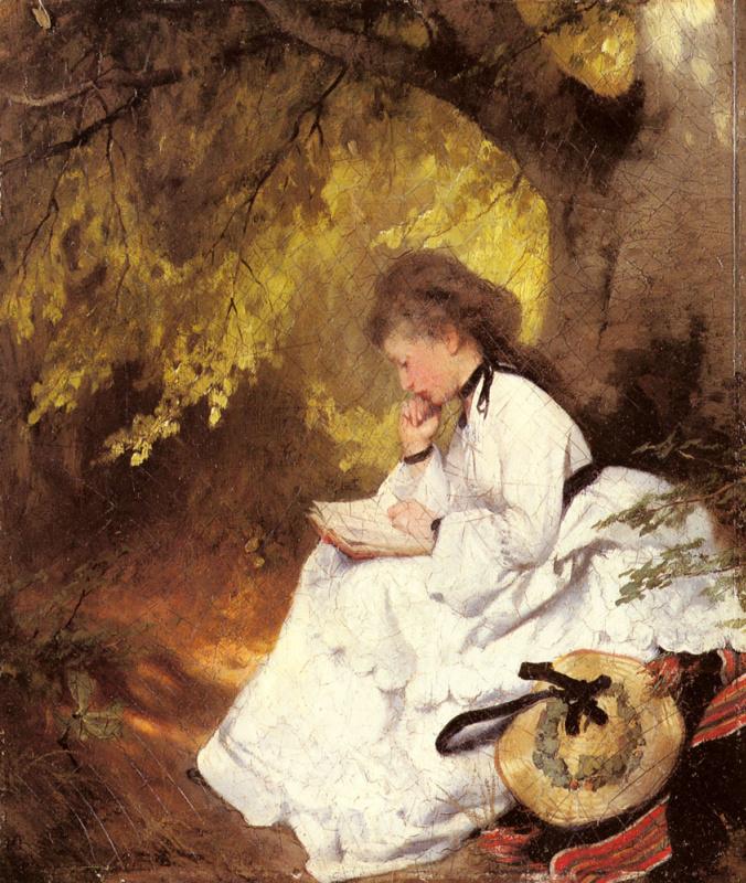 Карл Реп. Элегантная дама читает под деревом